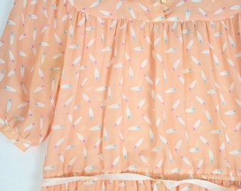 Vintage 1970s Apricot Midi day dress with feather print // Boho Dress // Vintage // Japanese // Secretary // Cutesy // Picnic // Play