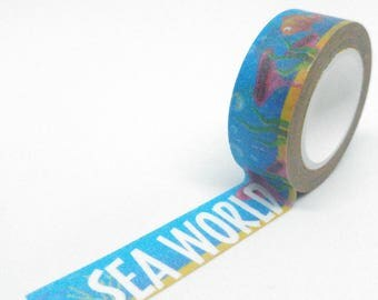 "Washi Tape world underwater and animals ""sea world"" multicolor 10Mx15mm"