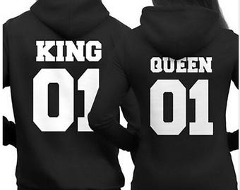 KING 01 QUEEN 01 Hoodie Jumper MR Mrs valentines day Couple Matching