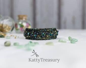 Dragon bracelet, green bracelet, beaded bracelet, seed beaded bracelet, herringbone stitch bracelet