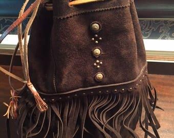 Vintage Brown Suede Leather Hippie Bohemian Bag Purse