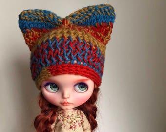 Blythe wool kitty cat hat
