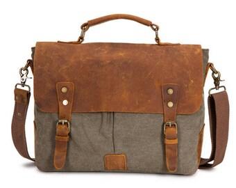 Waxed Canvas Messenger Bag, Leather Messenger Bag, Men Canvas Messenger Bag, Canvas Satchel, Laptop Messenger Bag, Boyfriend Gift
