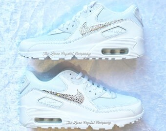 Luxe Crystal Custom Nike Air Max 90 White Wedding Bridal Shoes Sneakers In Clear Rhinestones Strass