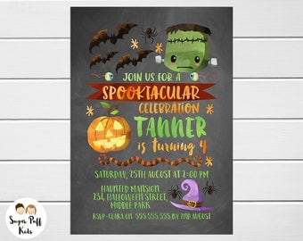 Kids Chalkboard Halloween Birthday Invitation, Scary Birthday Invitation, Spooky Birthday Party Invitation, Kids Halloween Birthday Invite,