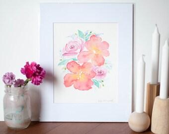 8 x 10 Watercolor Flower Bouquet Art // Original Watercolor Art // Botanical Art