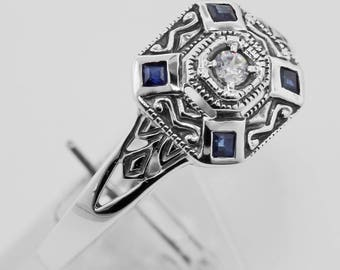Sapphire / CZ Filigree Ring - Art Deco Style - Sterling Silver Size 7 Real Sapphires Free Shipping