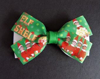 Elf on the Shelf hair bow -Girl's hair bow, Toddler hair bow, Hairbow, Christmas hair bow, Hair accessory, Red and green hair bow, Hair clip