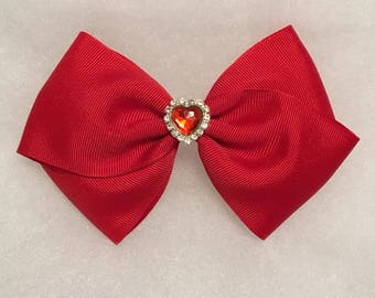Large Red Hair Bow - Girl's large red bow, Toddler hair bow, Hair accessory, Large hair bow, Large hair bow for girl, Hair clip for girl