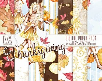 Thanksgiving Paper Pack, Fall Paper Pack, Autumn Digital Paper, Scrapbook, Fall Digital Paper for planner stickers, Thanksgiving watercolor