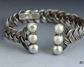 Fabulous Vintage Hector Aguilar Taxco 990 Purity Silver Mexican Cuff Bracelet