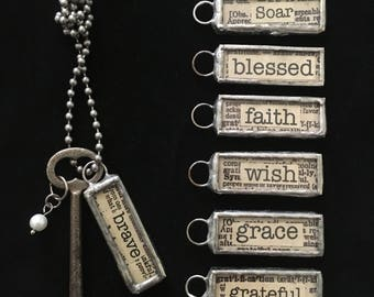 inspirational pendant, word charm, vintage skeleton key necklace