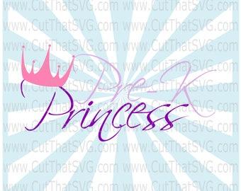 Pre-K Princess SVG Cut File DXF Clipart PNG Jpg