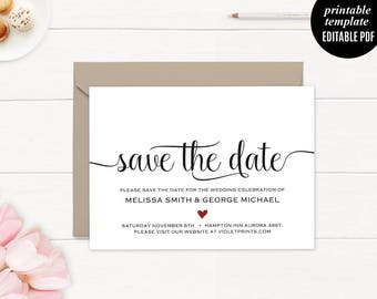 Elegant Save the Date Wedding Card Template Printable Modern Rustic Classic DIY PDF Digital Download Editable