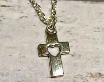 Cross necklace, cross pendant, cross jewellery, cross gift, silver plated cross necklace, cute cross necklace, religious gift, cross jewelry