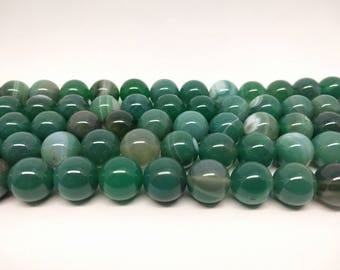 Agate Beads Green Agate Beads Round Agate Beads Green Beads Striped Agate Beads Jewelry Beads Gemstone Beads Mint Beads Round Beads Jewelry