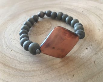 Custom Copper & Wood Bead Bracelet