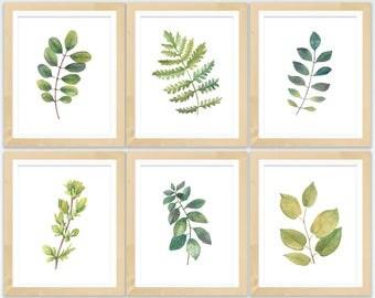 Botanical Printable Set   Leaf Printable Set   Watercolor Botanical Prints   Set of 6 Prints   Wall Art Set   Printable Botanical Art