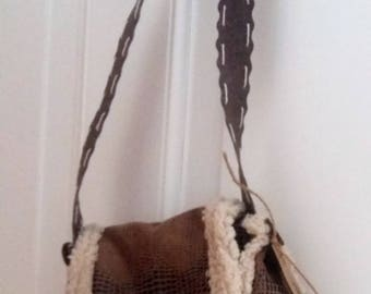 FABRIC FAUX leather and SHEEPSKIN shoulder bag