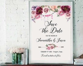 Save the Date Printable Floral Digital Wedding Marsala Burgundy Watercolor Vintage Romantic Bohemian Save the Date Invite WS-030