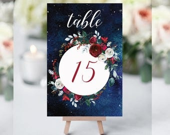 Wedding Table Numbers,Christmas Winter Numbers,Red White Burgundy Table Numbers,Table Numbers Wedding,11-20,4x6,PDF Instant Download TN-050
