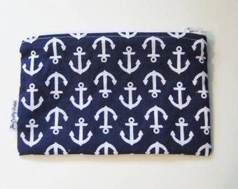 Soft Anchors Away - Handmade Pouch Purse - Zippered Coin Pouch - Cute small Purse - Wallet - Makeup case