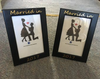 Married in 2018 picture frame *wedding photo frame*