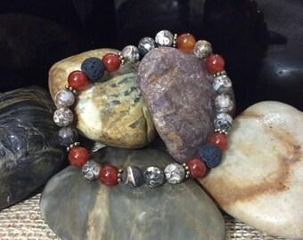 Turritella Agate & Carnelian, Lava Aromatherapy Gemstone Stretch Bracelet
