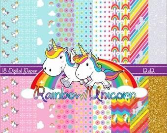 Kit Digital Rainbow/Unicorn Digital Paper