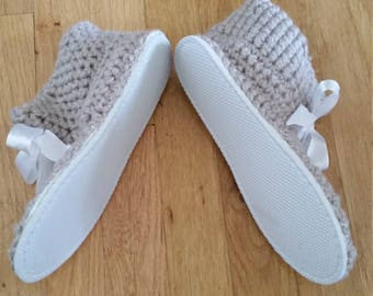 Crochet slippers with sole.