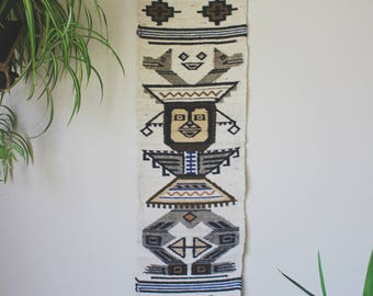 Vintage Woven Wall Hanging Handwoven Aztec Wall Art Southwestern Wall Tapestry Boho Table Runner Wall Decor Dining Room Decor Bohemian