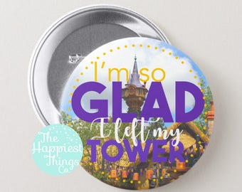"Disney Button Rapunzel Tangled Tower 3"" Pinback Button [Parks Accessory, I'm Celebrating, Disney World, Photography]"