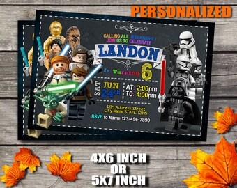 Star Wars Geburtstags Einladung, Lego Star Wars Einladung, Star Wars, Star