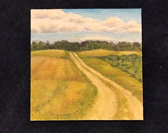 """Landscape Magnet """"Country Road"""" Painting on Mini Canvas 2 3/4 x 2 3/4 by Zata Palange"""