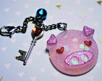 In Love Pink Piggy Keychain