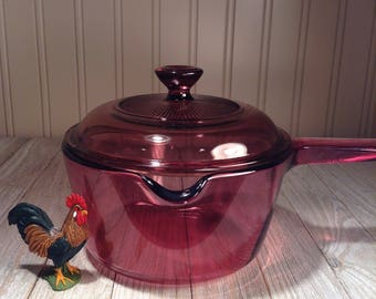 Items Similar To Vintage Corning Pyrex Cranberry Visions