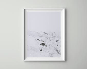 Snow, Mountain, Nordic Art, Photography Art, Poster, Scandinavian Art, Tumblr Room Decor, Wall Art, Nordic Photograph Poster, Nordic Poster