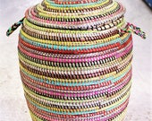 For you. multi coloured handwoven laundry basket small laundry basket  recycled plastic basket small basket