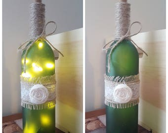 Burlap Wine Bottle Light