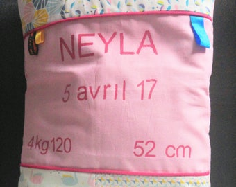 customizable birth announcement pillow and removable cover