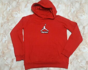 Supreme Air Jordan Red sweatshirt Hoodie Missing tag embroidery blok logo size fit L / streetwear fashionstreet fashion style skate brands