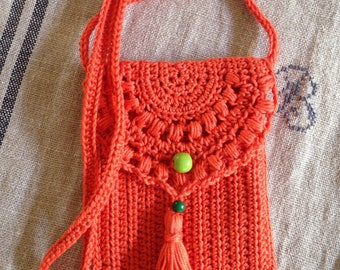 Orange crochet hippie chic pouch