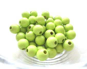 50 wooden pacifier clip 8 mm - lime green beads