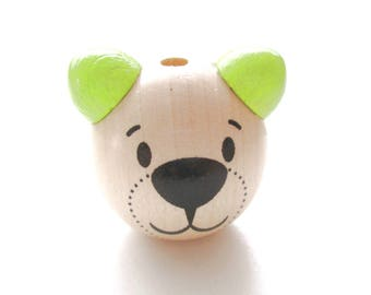 3D head of Teddy bear - lime green & natural wooden bead
