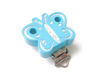 Wooden pacifier - Turquoise Glitter Butterfly clip