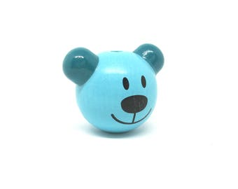 Turquoise bear head 3D wooden bead and teal