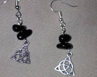 Triquetra Obsidian earrings
