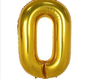 "40"" Gold Number Zero O Balloon, Birthday Party and New Year Party etc ... 1,2,3,4,5,6,7,8,9,0"