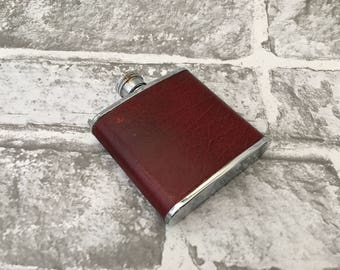 Vintage Drinking Flask, Stainless Steel and Red Leather Cover, Travelling Metal Flask