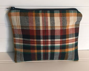 Handmade Zipper Pouch | Fall Colored Plaid Pouch